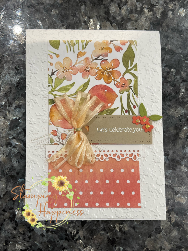 This is a handmade card made using products from the You're a Peach Suite from Stampin Up.  It has some ribbon on it too made by Ruth Wareing