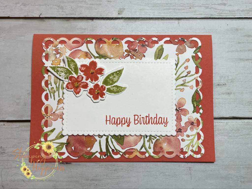 This is a picture of a handmade card using products from the You're a Peach suite from Stampin Up made by Ruth Wareing