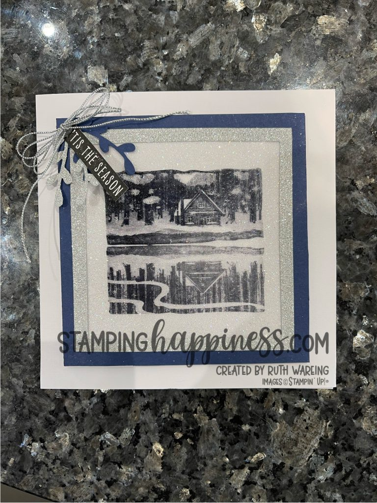 This is a picture of a handmade Christmas Card from Day 1 of my Christmas in July series using the Reflected in Nature Stamp set from Stampin Up.  It has glitter and ribbons and is blue and white
