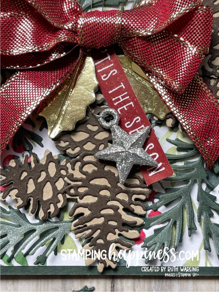This is a close up picture of the tied ribbon bow on the card featuring the Painted Christmas Suite from Stampin Up from my Christmas in July Series