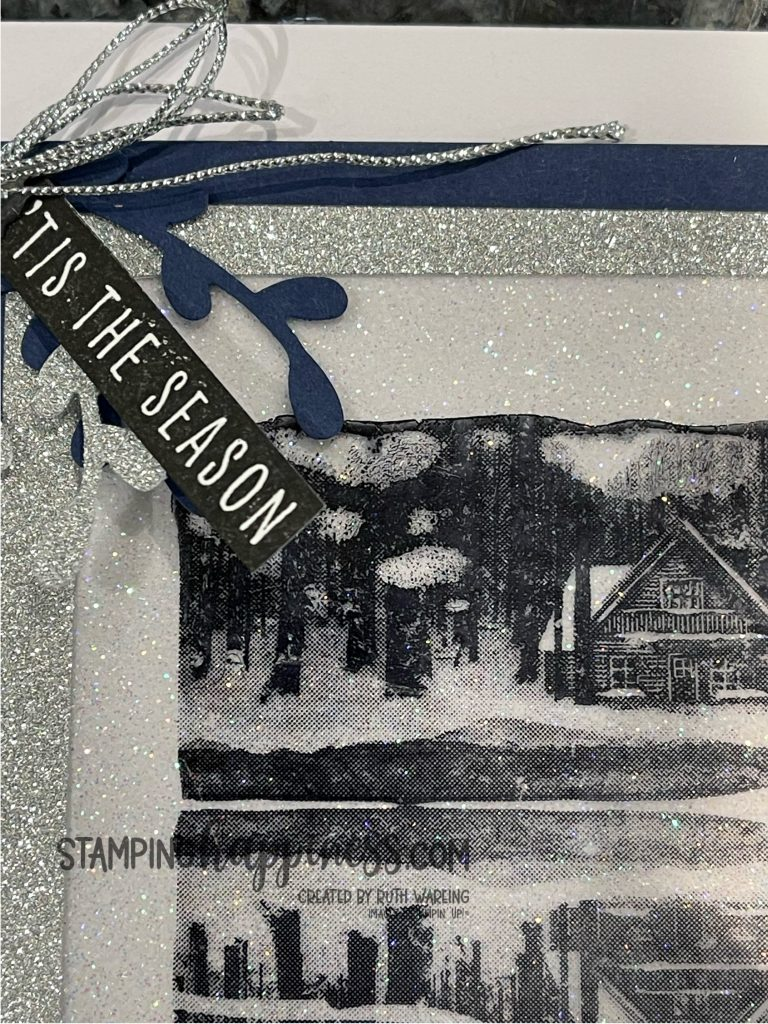 This is a picture of a handmade Christmas Card form day 1 of my Christmas in July series using the Reflected in Nature Stamp set from Stampin Up.  It has glitter and ribbons and is blue and white