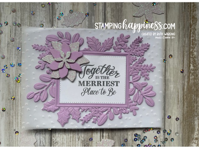 A Christmas card with an embossed vellum background and a fresh freesia cardstock frame with a white inner piece stamped in black ink.  There is a layered poinsettia on the side. The card is made using Merriest Moments bundle from stampin up